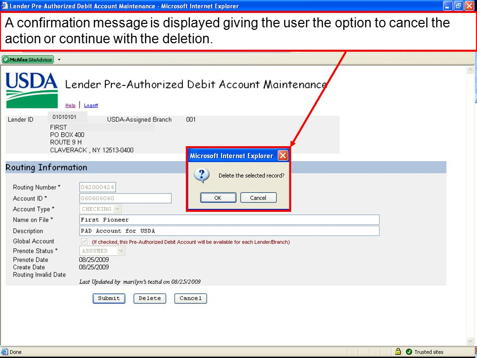 A confirmation message is displayed giving the user the option to cancel the action or continue with the deletion.