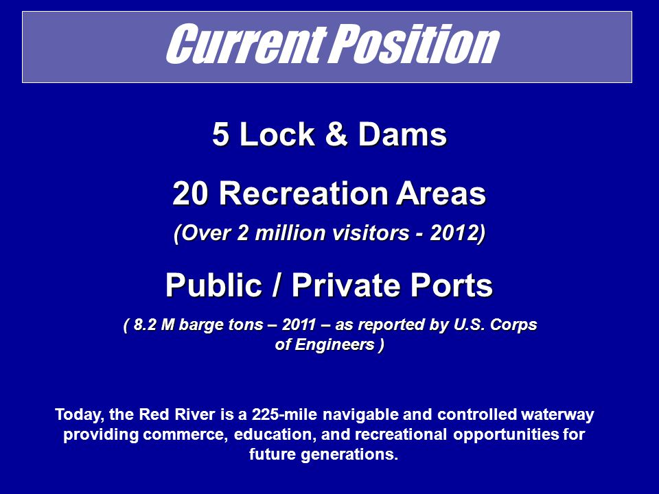 Current Position 5 Lock & Dams 20 Recreation Areas (Over 2 million visitors - 2012) Public / Private Ports ( 8.2 M barge tons – 2011 – as reported by U.S.
