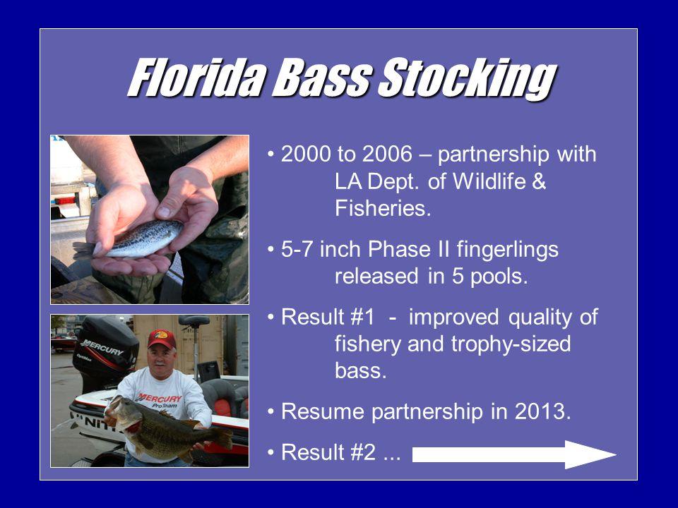 Florida Bass Stocking 2000 to 2006 – partnership with LA Dept.