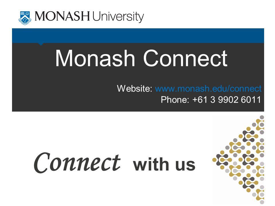 Monash Connect Connect with us Website: www.monash.edu/connect Phone: +61 3 9902 6011