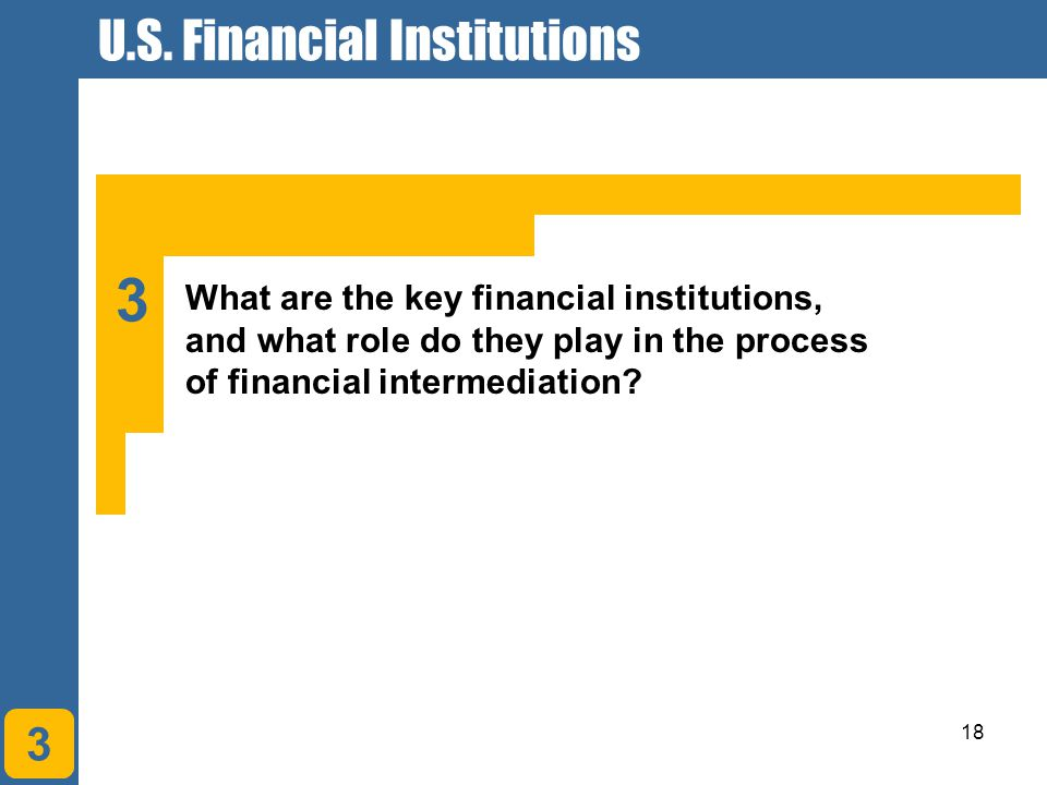 18 3 What are the key financial institutions, and what role do they play in the process of financial intermediation? 3 U.S. Financial Institutions