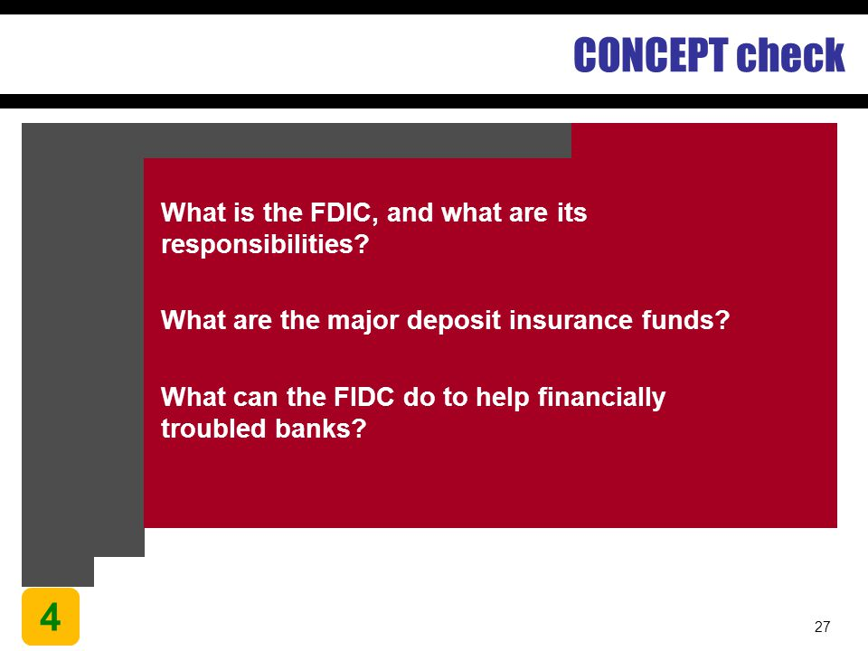 27 CONCEPT check What is the FDIC, and what are its responsibilities? What are the major deposit insurance funds? What can the FIDC do to help financi