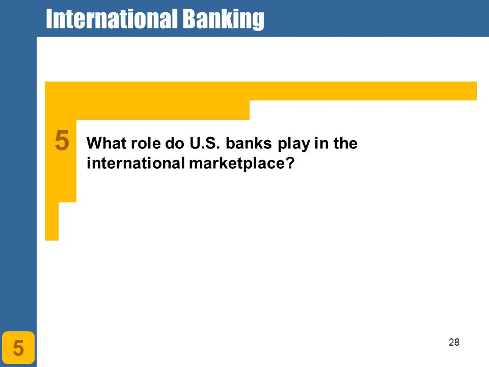 28 5 What role do U.S. banks play in the international marketplace 5 International Banking