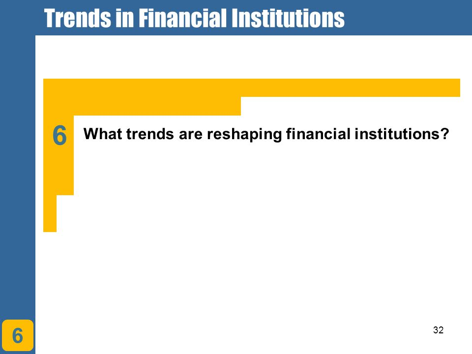 32 6 What trends are reshaping financial institutions? 6 Trends in Financial Institutions