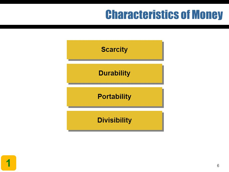 6 Characteristics of Money Divisibility Portability Durability Scarcity 1