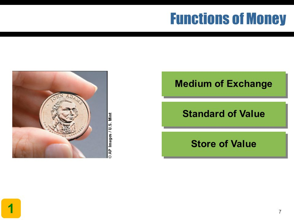7 Functions of Money 1 Store of Value Standard of Value Medium of Exchange © AP Images / U.S. Mint