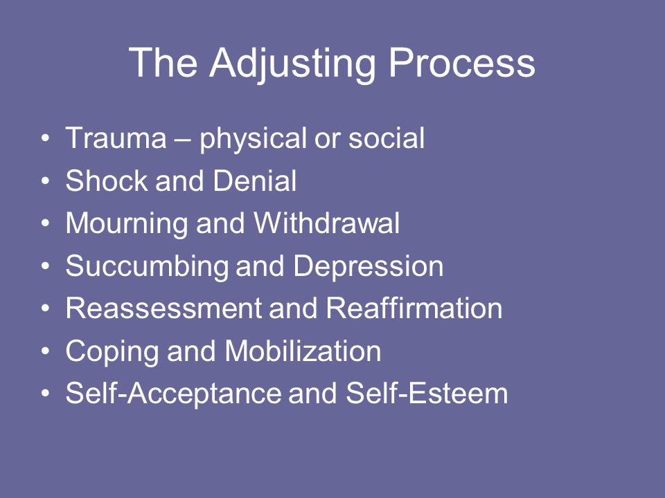 The Adjusting Process Trauma – physical or social Shock and Denial Mourning and Withdrawal Succumbing and Depression Reassessment and Reaffirmation Coping and Mobilization Self-Acceptance and Self-Esteem