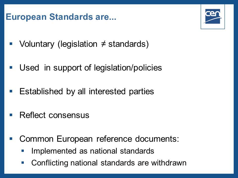  2005 CEN – all rights reserved European Standards are...  Voluntary (legislation ≠ standards)  Used in support of legislation/policies  Establish
