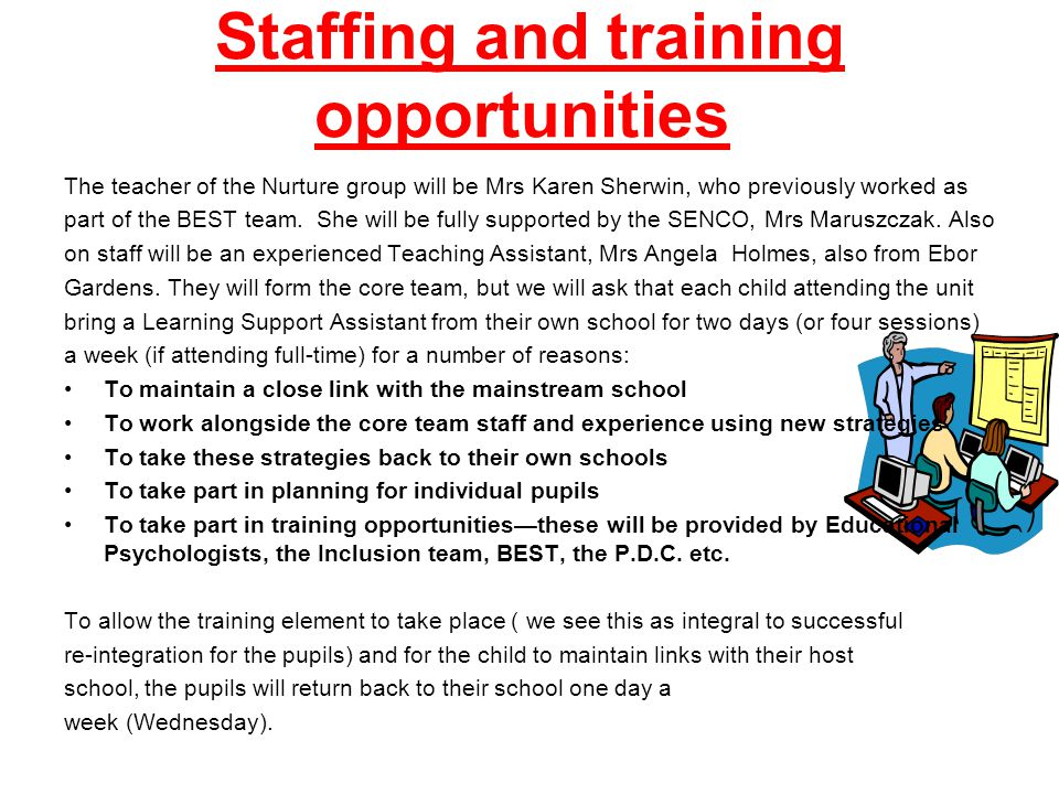 Staffing and training opportunities The teacher of the Nurture group will be Mrs Karen Sherwin, who previously worked as part of the BEST team.