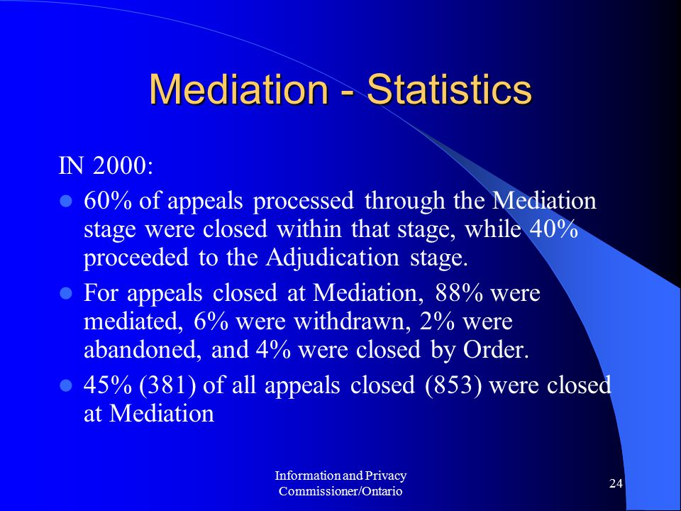 Information and Privacy Commissioner/Ontario 24 Mediation - Statistics IN 2000: 60% of appeals processed through the Mediation stage were closed within that stage, while 40% proceeded to the Adjudication stage.