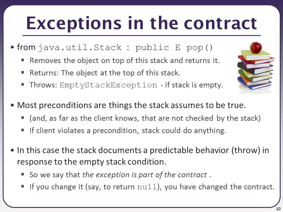 11 Preconditions and private Private internal methods do not usually test preconditions: // Helper does the real work of removing an item.