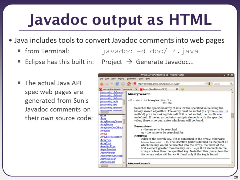 21 Javadoc HTML example from java.util.List interface source code: /** * Returns the element at the specified position * in this list.