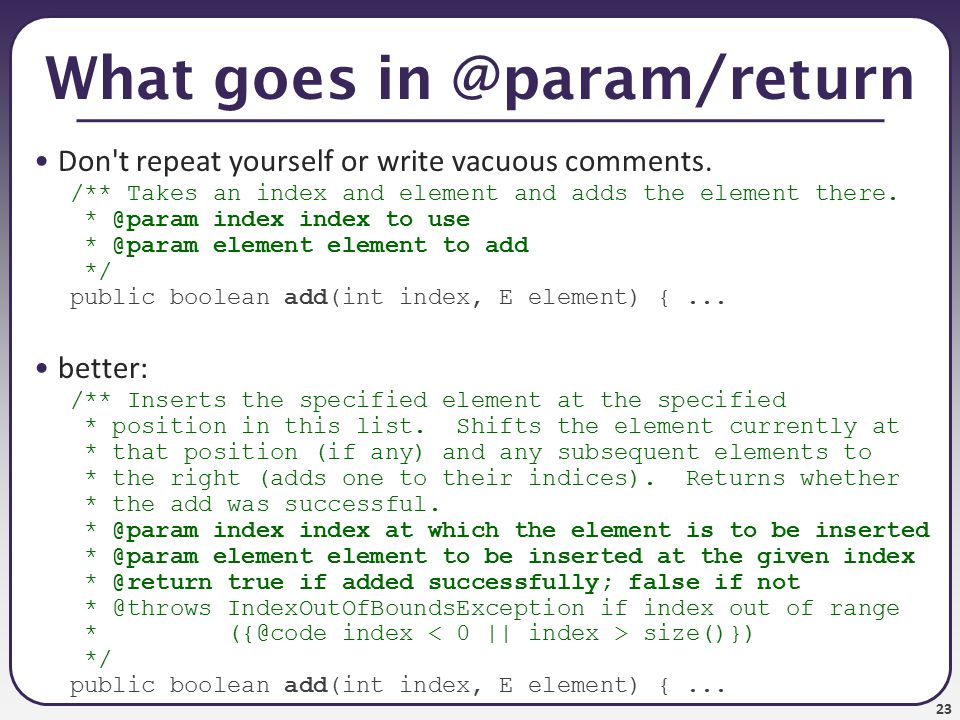 24 Your Javadoc is your spec Whenever you write a class to be used by clients, you should write full Javadoc comments for all of its public behavior.