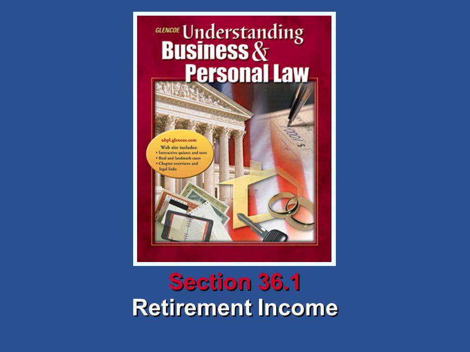 Understanding Business and Personal Law Retirement Income Section 36.1 Retirement and Wills Social Security Social security provides income to people when their regular income stops because of retirement, disability, or the death of someone who had provided them with income.