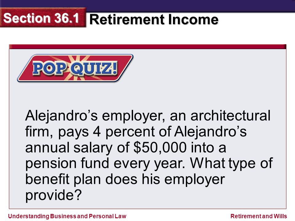 Understanding Business and Personal Law Retirement Income Section 36.1 Retirement and Wills Alejandro's employer, an architectural firm, pays 4 percent of Alejandro's annual salary of $50,000 into a pension fund every year.