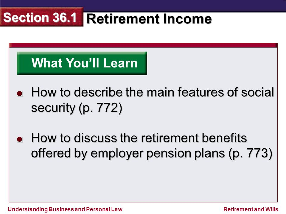 Understanding Business and Personal Law Retirement Income Section 36.1 Retirement and Wills 36.1 Benefits of Starting a Retirement Plan Early