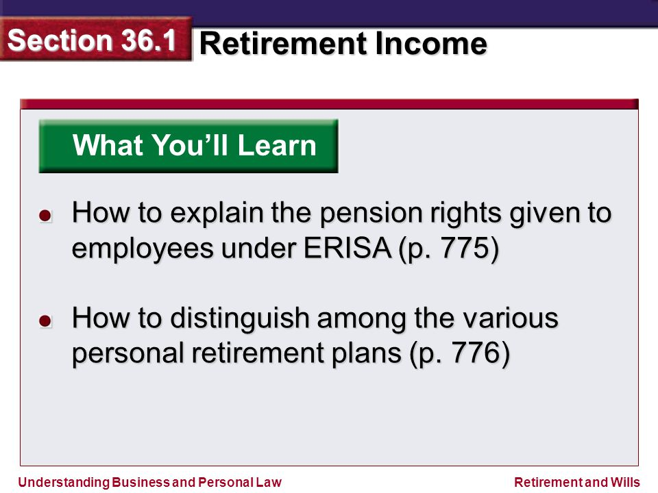 Understanding Business and Personal Law Retirement Income Section 36.1 Retirement and Wills What You'll Learn How to explain the pension rights given to employees under ERISA (p.
