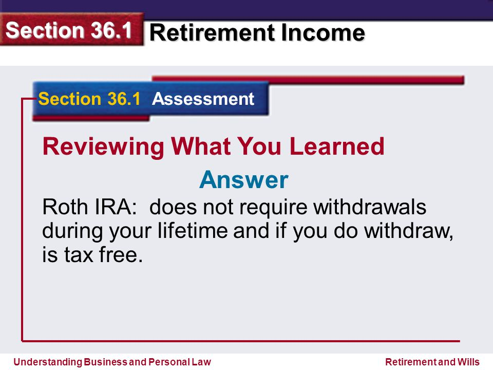 Understanding Business and Personal Law Retirement Income Section 36.1 Retirement and Wills Reviewing What You Learned Roth IRA: does not require withdrawals during your lifetime and if you do withdraw, is tax free.