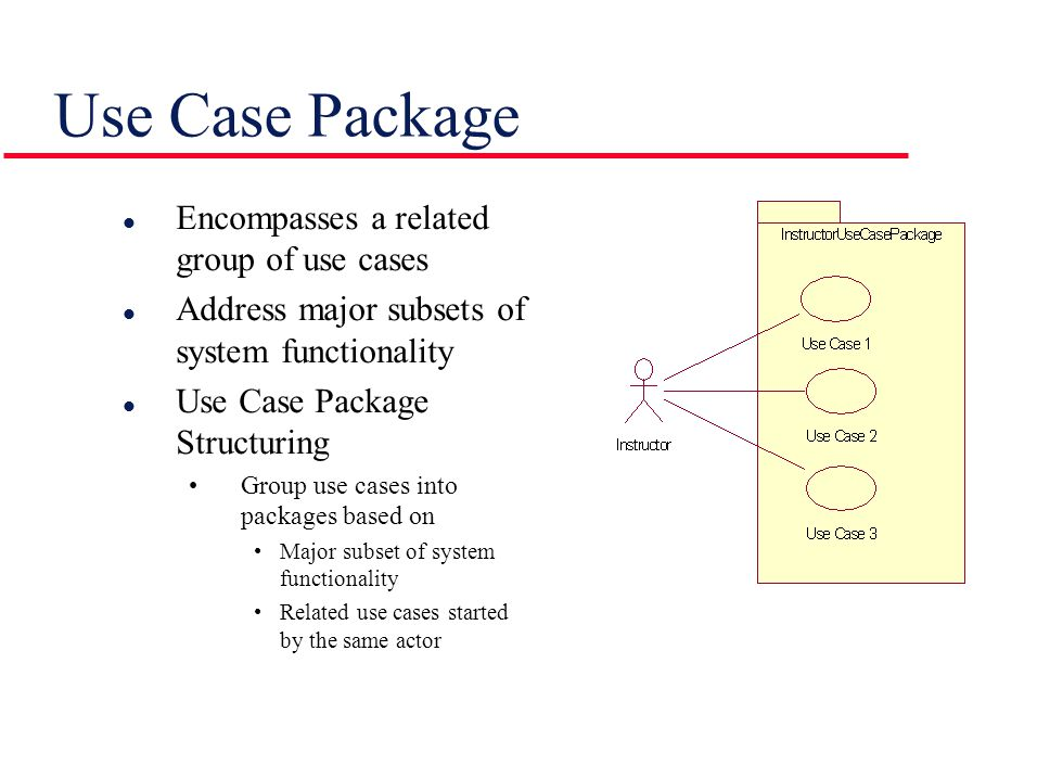 Use Case Package l Encompasses a related group of use cases l Address major subsets of system functionality l Use Case Package Structuring Group use cases into packages based on Major subset of system functionality Related use cases started by the same actor