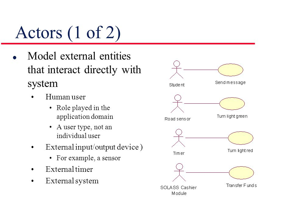Actors (2 of 2) l Primary actor Initiates a use case Takes proactive role and initiates actions in the system l Secondary actor Receives outputs and provides inputs l May use I/O devices or external system to physically interact with system l At least one actor must gain value from the use case