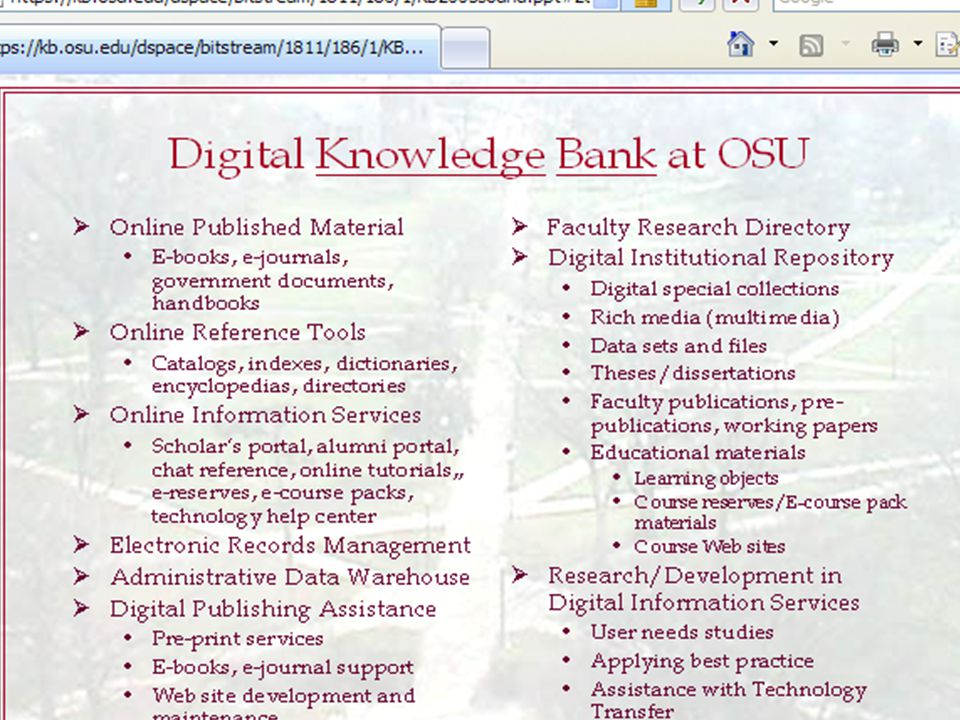 How is the Knowledge Bank Organized.