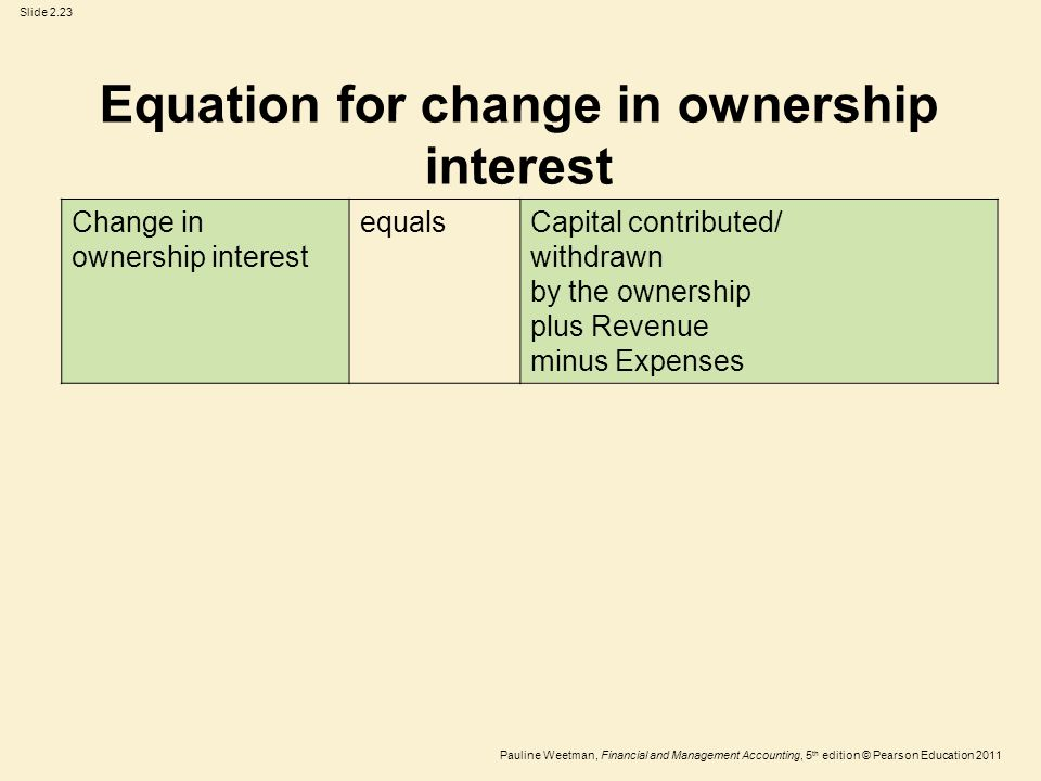 Slide 2.23 Pauline Weetman, Financial and Management Accounting, 5 th edition © Pearson Education 2011 Change in ownership interest equalsCapital contributed/ withdrawn by the ownership plus Revenue minus Expenses Equation for change in ownership interest