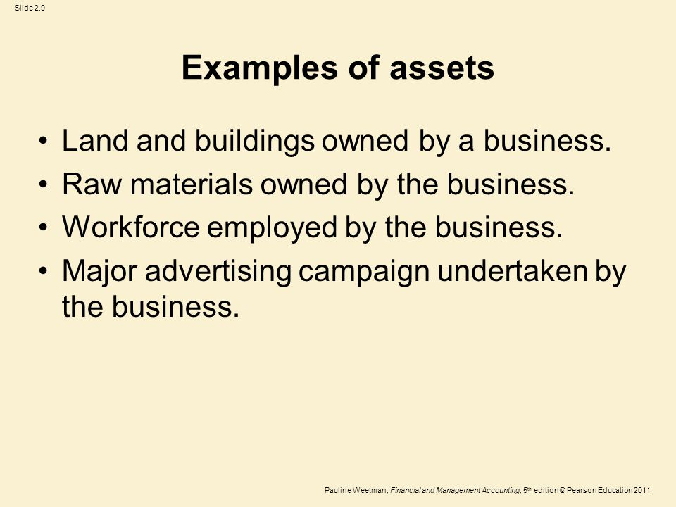 Slide 2.9 Pauline Weetman, Financial and Management Accounting, 5 th edition © Pearson Education 2011 Examples of assets Land and buildings owned by a business.