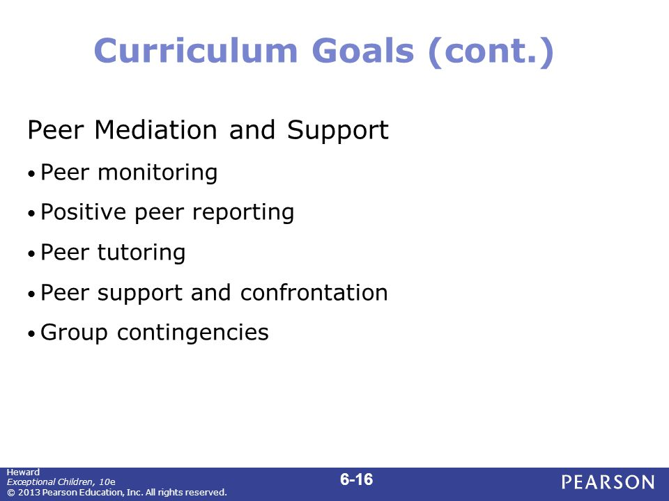 Curriculum Goals (cont.) Peer Mediation and Support Peer monitoring Positive peer reporting Peer tutoring Peer support and confrontation Group conting