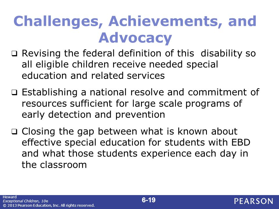 Challenges, Achievements, and Advocacy  Revising the federal definition of this disability so all eligible children receive needed special education