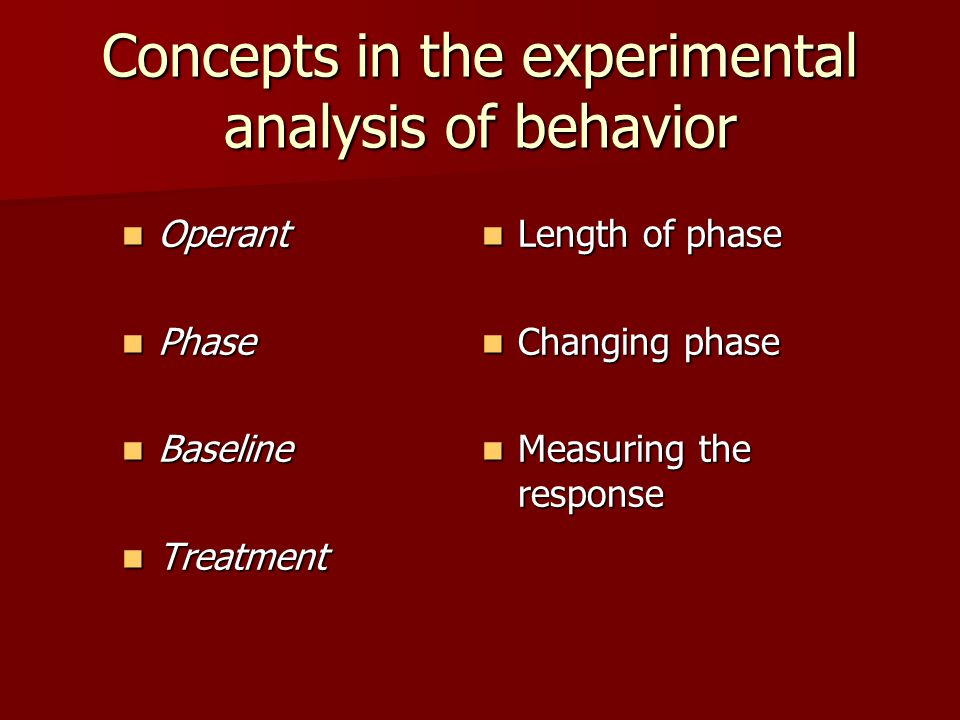 Phase Phase Phase –The period of time during which the individual is studied to see how his or her behavior changes when different treatments are introduced, withdrawn, or changed.