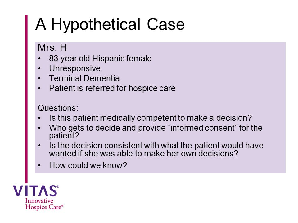 A Hypothetical Case Mrs. H 83 year old Hispanic female Unresponsive Terminal Dementia Patient is referred for hospice care Questions: Is this patient