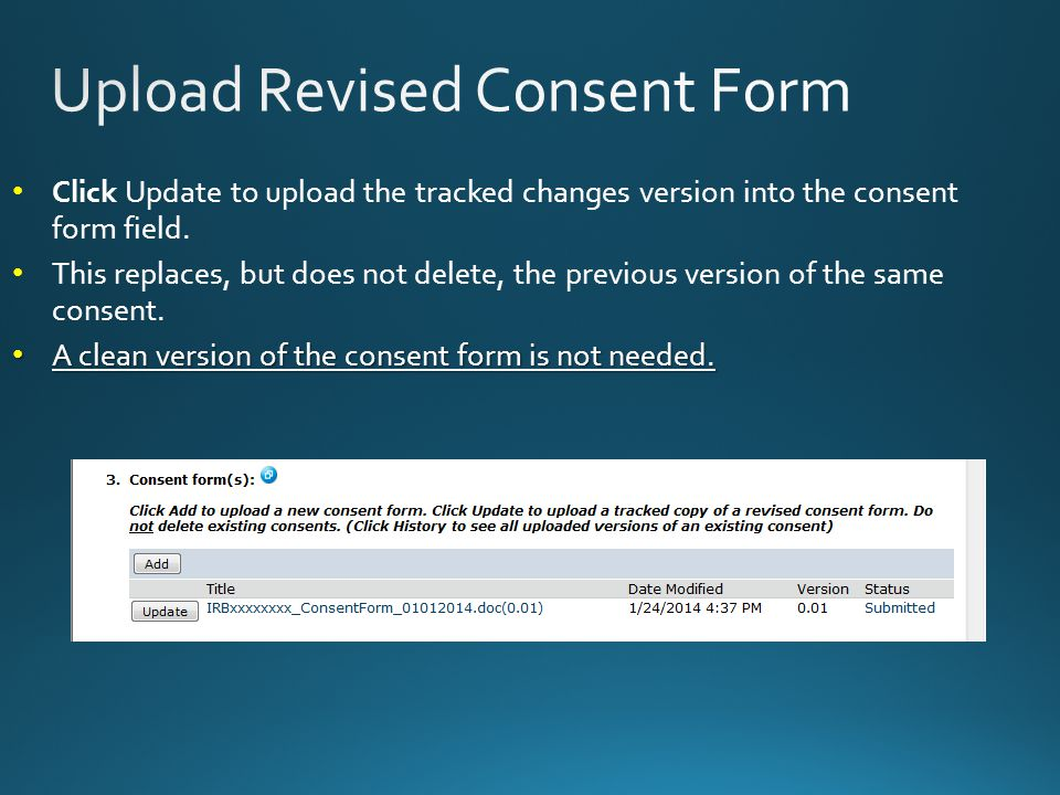 Click Update to upload the tracked changes version into the consent form field.