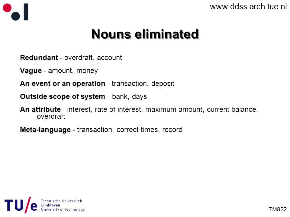 www.ddss.arch.tue.nl 7M822 Redundant Redundant - overdraft, account Vague Vague - amount, money An event or an operation An event or an operation - transaction, deposit Outside scope of system Outside scope of system - bank, days An attribute An attribute - interest, rate of interest, maximum amount, current balance, overdraft Meta-language Meta-language - transaction, correct times, record Nouns eliminated