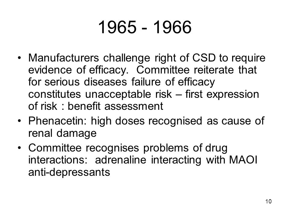 10 1965 - 1966 Manufacturers challenge right of CSD to require evidence of efficacy.