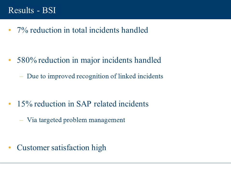 Results - BSI 7% reduction in total incidents handled 580% reduction in major incidents handled –Due to improved recognition of linked incidents 15% r