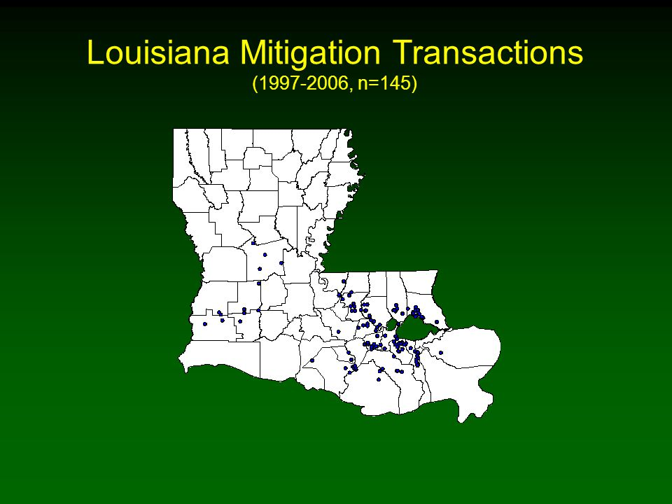 Louisiana Mitigation Transactions (1997-2006, n=145)