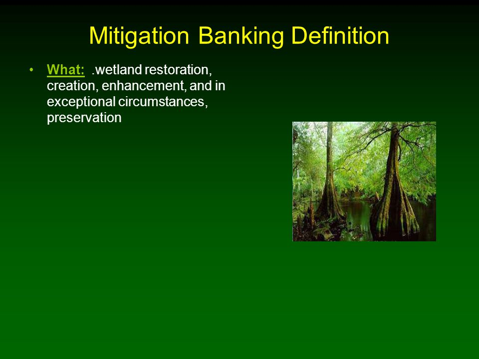 Mitigation Banking Definition What: ….wetland restoration, creation, enhancement, and in exceptional circumstances, preservation Why: compensating for unavoidable wetland losses in advance of development actions, when mitigation cannot be achieved on site or would not be as environmentally beneficial