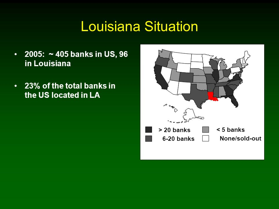 Louisiana Situation 2005: ~ 405 banks in US, 96 in Louisiana 23% of the total banks in the US located in LA > 20 banks 6-20 banks < 5 banks None/sold-out