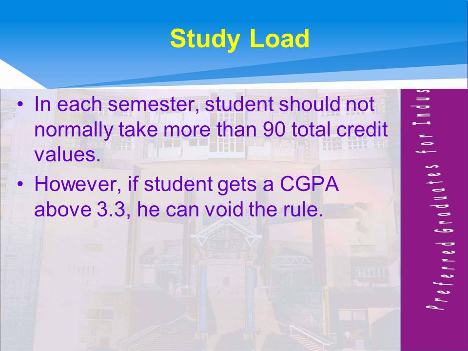 Study Load In each semester, student should not normally take more than 90 total credit values.