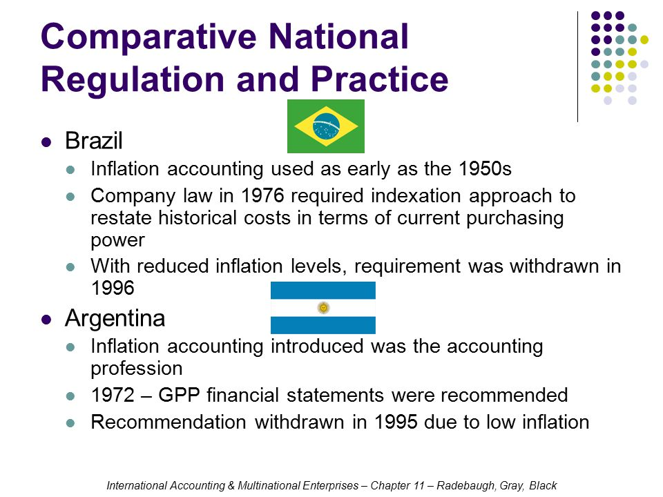 International Accounting & Multinational Enterprises – Chapter 11 – Radebaugh, Gray, Black Comparative National Regulation and Practice Brazil Inflation accounting used as early as the 1950s Company law in 1976 required indexation approach to restate historical costs in terms of current purchasing power With reduced inflation levels, requirement was withdrawn in 1996 Argentina Inflation accounting introduced was the accounting profession 1972 – GPP financial statements were recommended Recommendation withdrawn in 1995 due to low inflation
