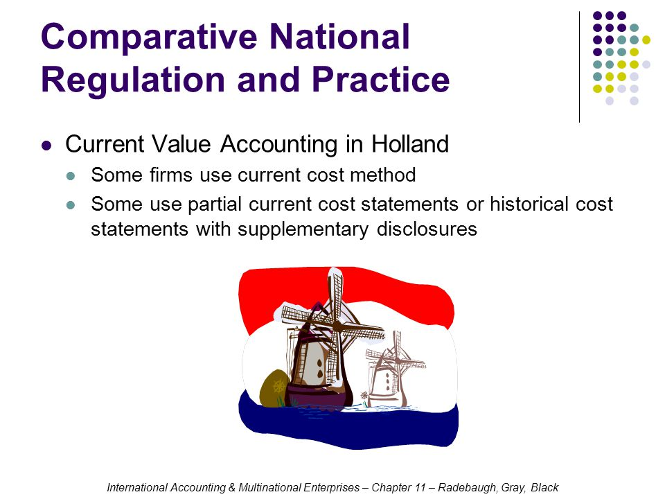 International Accounting & Multinational Enterprises – Chapter 11 – Radebaugh, Gray, Black Comparative National Regulation and Practice Current Value Accounting in Holland Some firms use current cost method Some use partial current cost statements or historical cost statements with supplementary disclosures