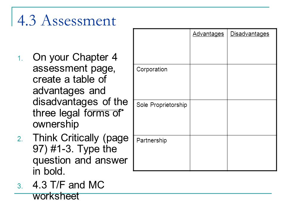 4.3 Assessment 1. On your Chapter 4 assessment page, create a table of advantages and disadvantages of the three legal forms of ownership 2. Think Cri