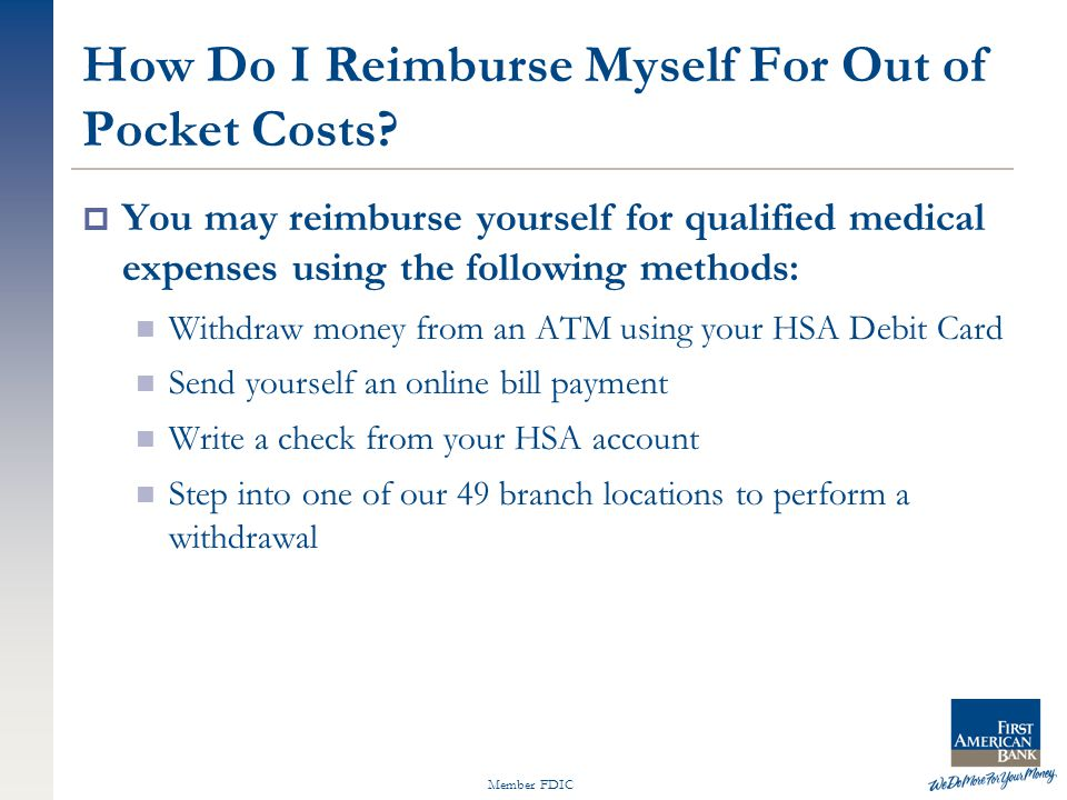 Member FDIC How Do I Reimburse Myself For Out of Pocket Costs.