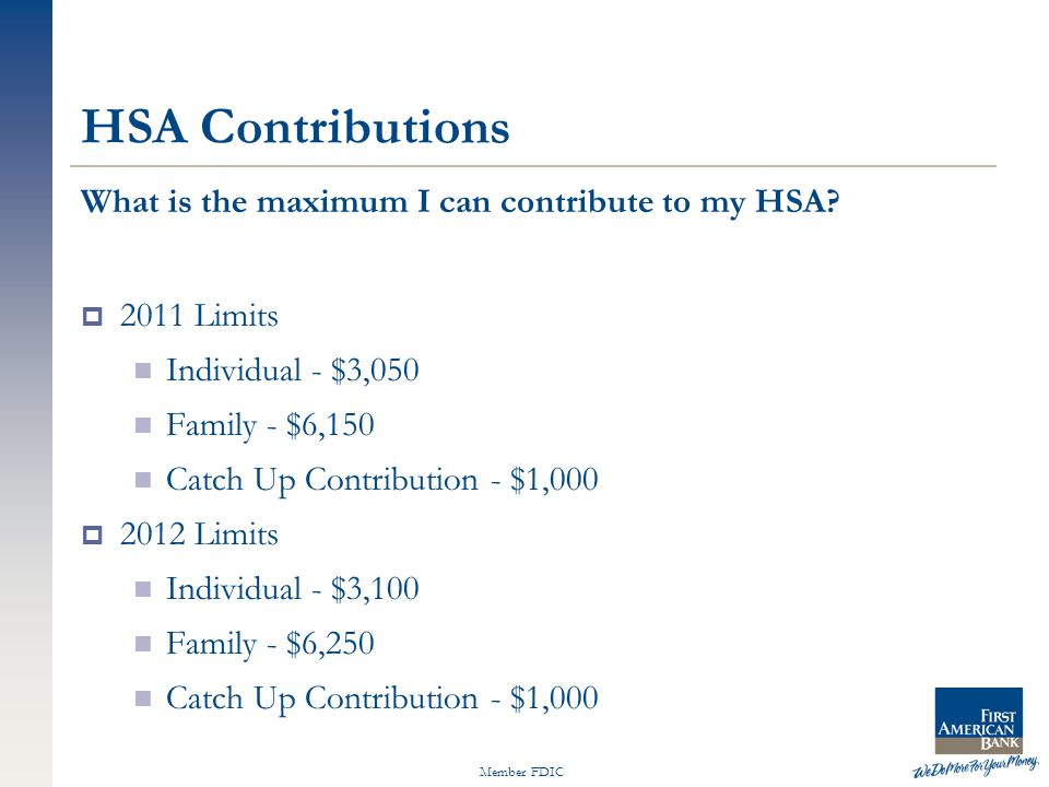 Member FDIC HSA Contributions What is the maximum I can contribute to my HSA?  2011 Limits Individual - $3,050 Family - $6,150 Catch Up Contribution