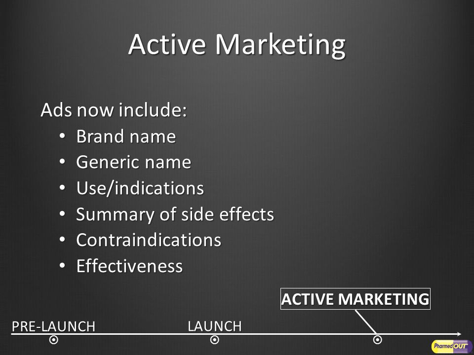 ACTIVE MARKETING LAUNCH  PRE-LAUNCH  Active Marketing Ads now include: Brand name Brand name Generic name Generic name Use/indications Use/indications Summary of side effects Summary of side effects Contraindications Contraindications Effectiveness Effectiveness