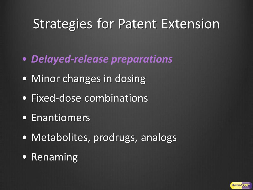 Strategies for Patent Extension Delayed-release preparations Minor changes in dosingMinor changes in dosing Fixed-dose combinationsFixed-dose combinat
