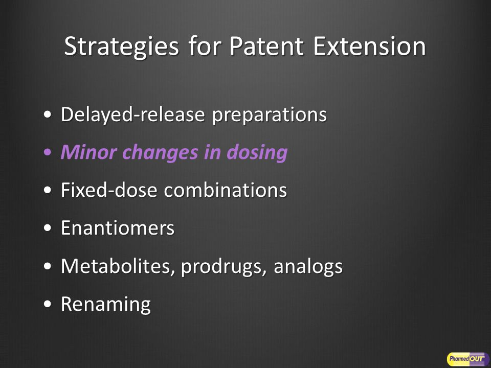 Strategies for Patent Extension Delayed-release preparationsDelayed-release preparations Minor changes in dosing Fixed-dose combinationsFixed-dose combinations EnantiomersEnantiomers Metabolites, prodrugs, analogsMetabolites, prodrugs, analogs RenamingRenaming