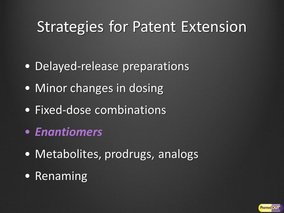 Strategies for Patent Extension Delayed-release preparationsDelayed-release preparations Minor changes in dosingMinor changes in dosing Fixed-dose combinationsFixed-dose combinations Enantiomers Metabolites, prodrugs, analogsMetabolites, prodrugs, analogs RenamingRenaming