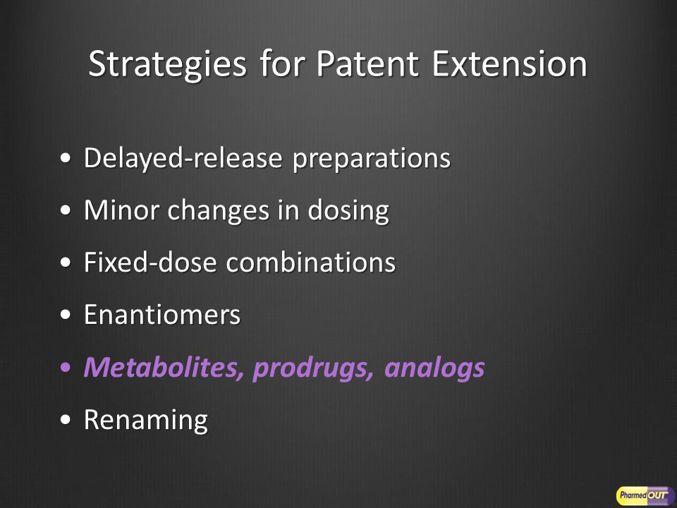 Strategies for Patent Extension Delayed-release preparationsDelayed-release preparations Minor changes in dosingMinor changes in dosing Fixed-dose com