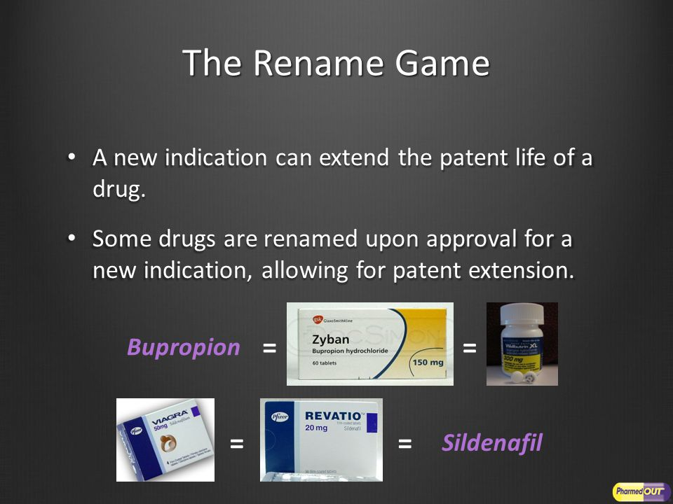 The Rename Game A new indication can extend the patent life of a drug. A new indication can extend the patent life of a drug. Some drugs are renamed u